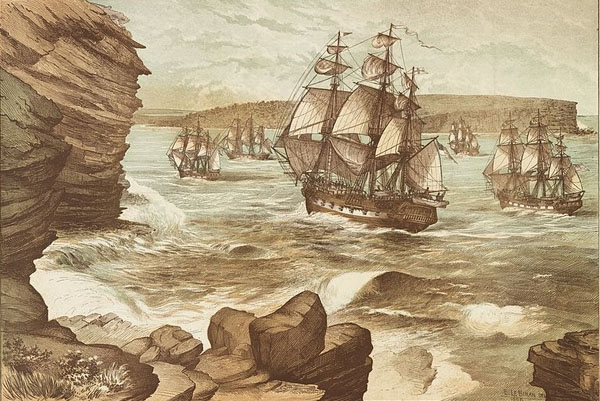 Colour lithograph of the First Fleet entering Port Jackson on January 26 1788, drawn in 1888. Creator: E. Le Bihan
