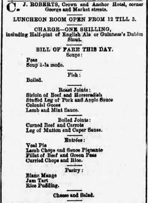 Bill of Fare including Colonial Goose