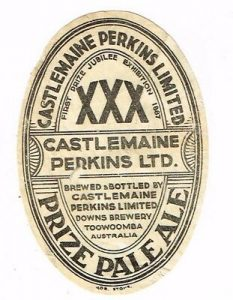 Label of Castlemaine Perkins beer produced not at the Castlemain brewery but the Downs Brewery.