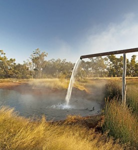 Hot artesian bore water at Charlotte Plains station camping area, near Cunnamulla, Qld