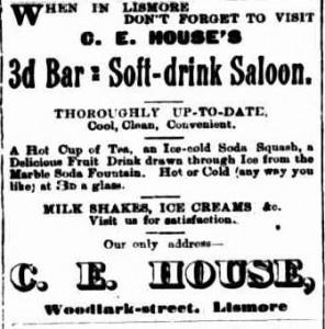 Lismore soda fountain advertisement 1904