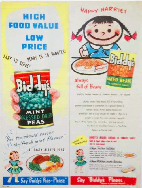 Biddy's peas advertisement from Raleigh Preserving Company