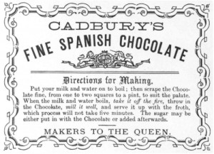 Instructions for making Cadbury drinking chocolate