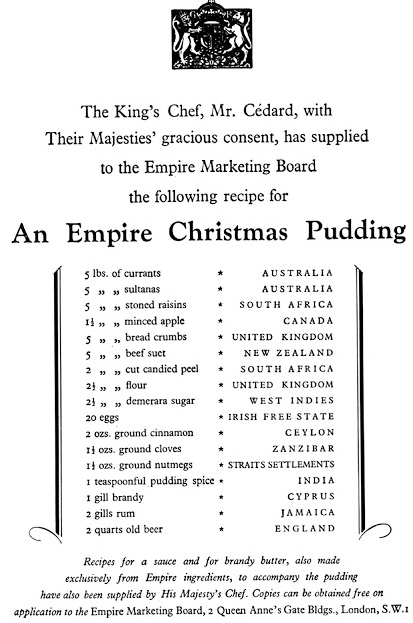 Empire Christmas Pudding recipe 1927