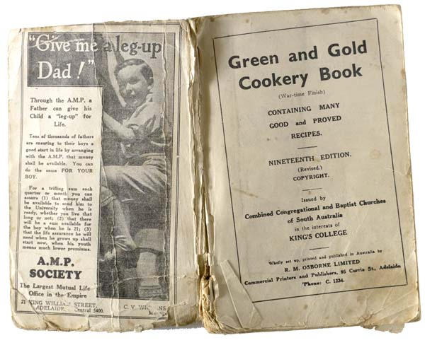 Green and Gold Cookery Book inside cover