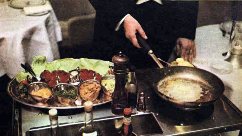 Preparing Steak Diane at the table, Wentworth Hotel, 1967