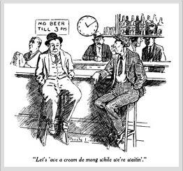 Beer rationing cartoon, The Bulletin, 1944