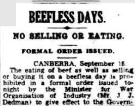 Beefless days announced in press