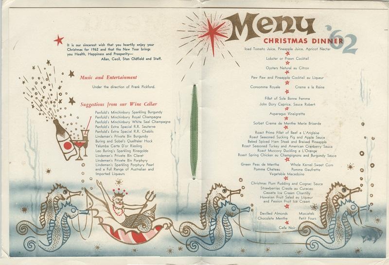 Hotel Astra menu Christmas 1962