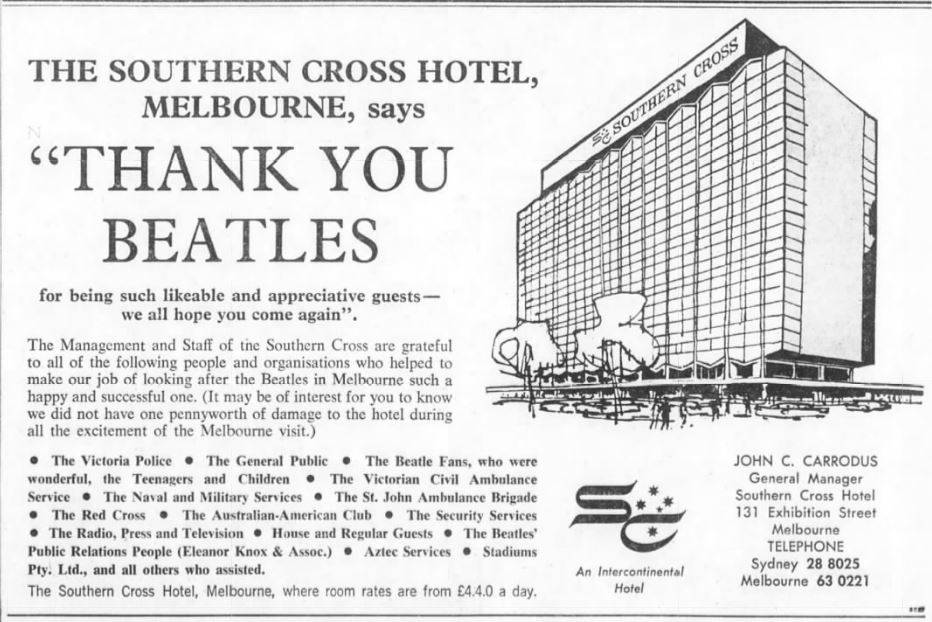 Southern Cross Hotel advertisement