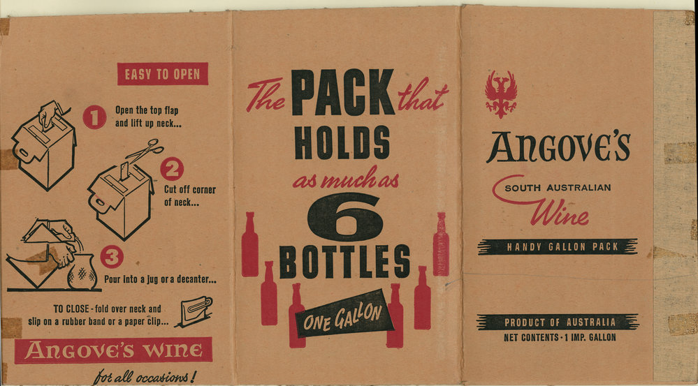 Original cask wine package by Angove's