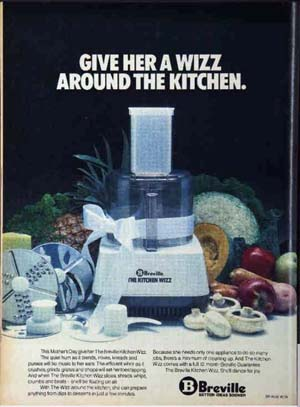 Mother's Day ad for the Breville Kitchen Wizz, 1978