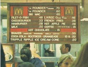 McDonald's menu 1972