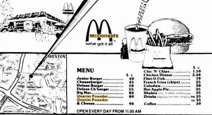 McDonald's Canberra menu, 1976