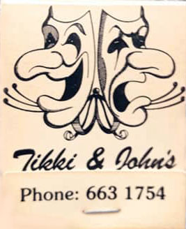 Tikki & John's theatre restaurant - match book cover