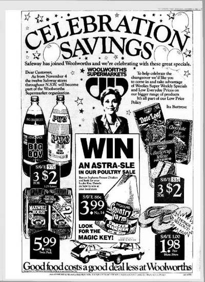 Advertisement announcing that Safeway stores would be rebranded as Woolworths.