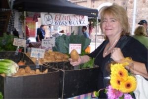 Jane Adams at a farmers' market