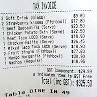 Restaurant bill with GST