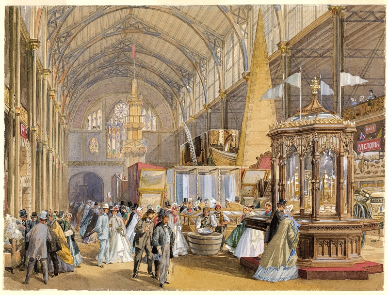 The Victorian display, featuring a pillar of gold, at the International Exhibition, London, 1862 by Joseph Nash watercolour and pencil La Trobe picture collection, State Library of Victoria