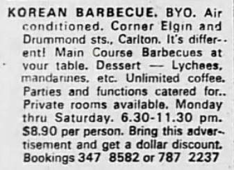 Ad for Korean Barbecue Melbourne - one of the new cuisines
