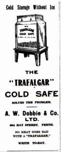 Trafalgar Coolgardie Safe advertisement 1919