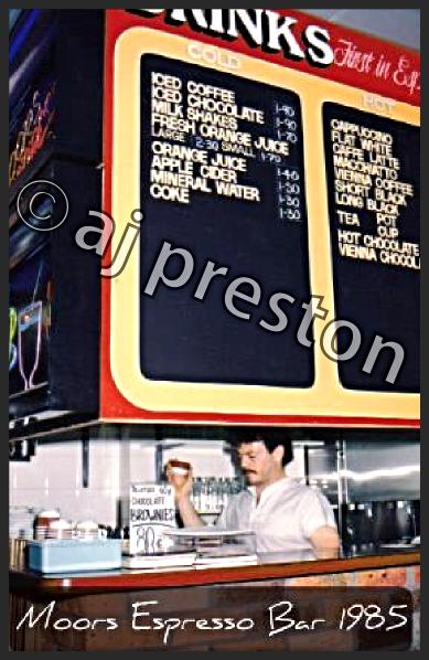 Flat White on Moors menu 1985