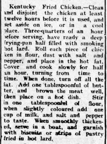 Kentucky Fried Chicken recipe 1908