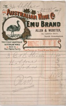 Emu brand on invoice