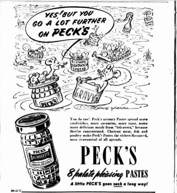 Peck's Pastes advertising