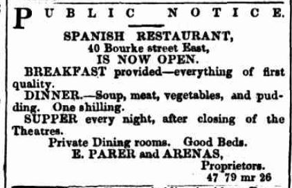 Spanish Restaurant advertisement 1860