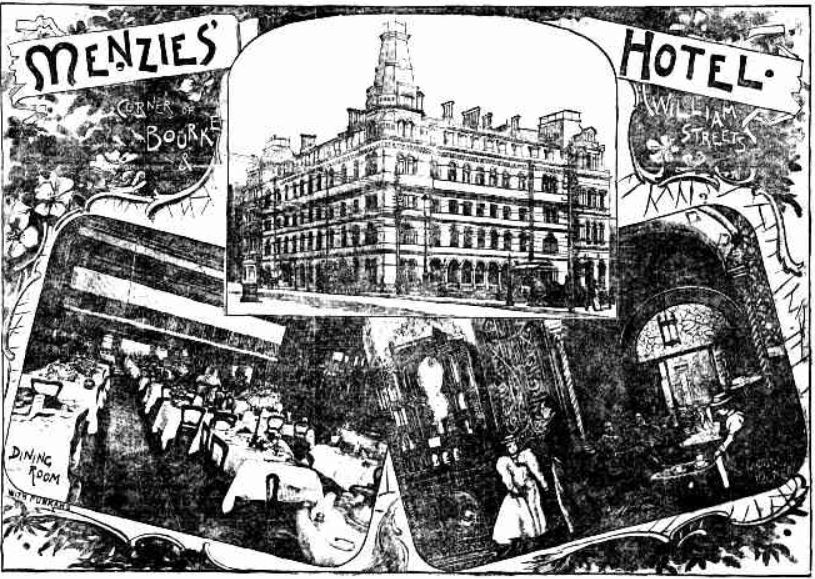 Menzies Hotel promotion 1897
