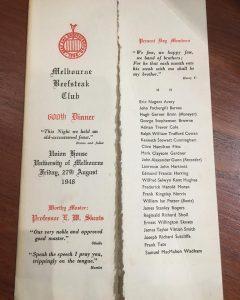 Melbourne Beefsteak Club menu for 600th dinner, 1948