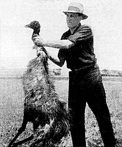 "Farmer with emu killed by soldiers during the ""emu war""."