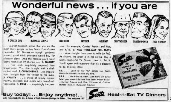 Advertisement for Scotts TV dinners