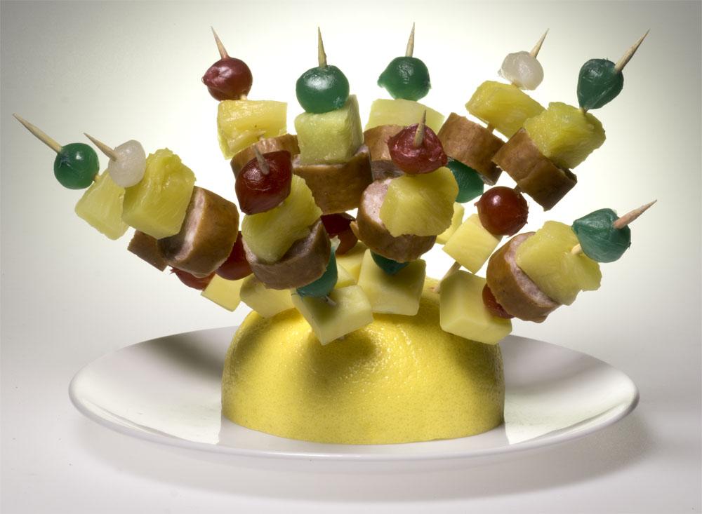 Cocktail teasers on toothpicks