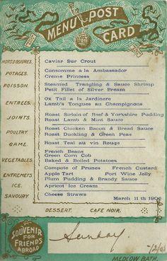 Menu postcard from Hydro Majestic hotel 1906