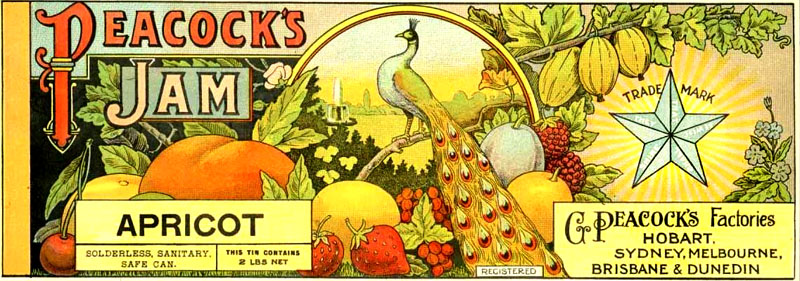 Peacock's Jam label from Australian food history timeline