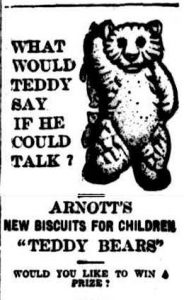 Arnott's Teddy Bear Biscuits advertising, 1913