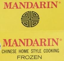 Mandarin frozen Chinese meals - label