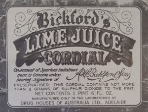"Old Bickford""s Lime Juice Cordial label"