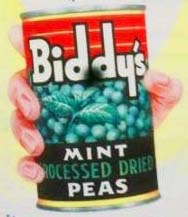 Tin of Biddy's Peas - from Raleigh Preserving Company