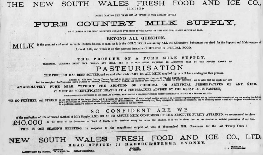 Pasteurised milk promoted by the New South Wales Fresh Food and Ice Company in 1897